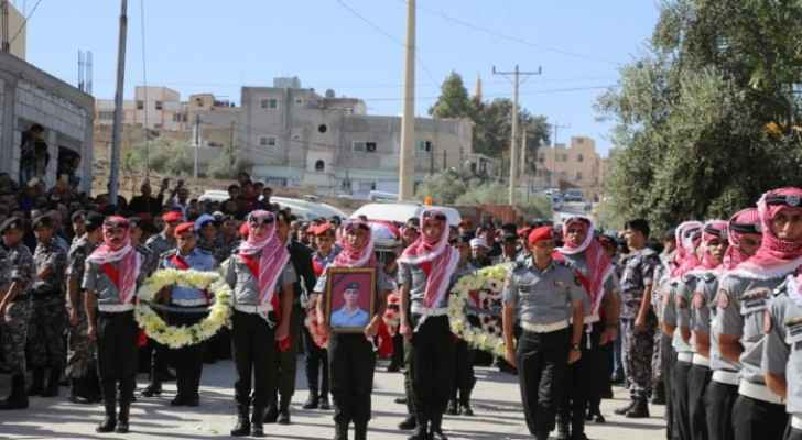 During martyr Jaradat's military funeral ceremony