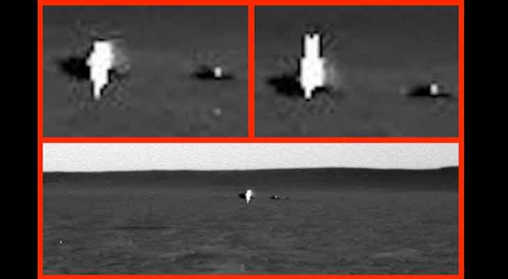 Zoomed in image composite of mysterious white 'being' on Mars