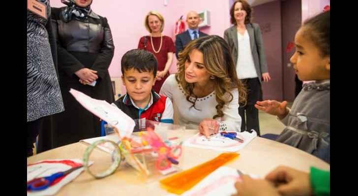 Her Majesty Queen Rania Al Abdallah at Dahiet Al Ameer Hassan Basic Mixed School. (Queen Rania Al Abdullah)