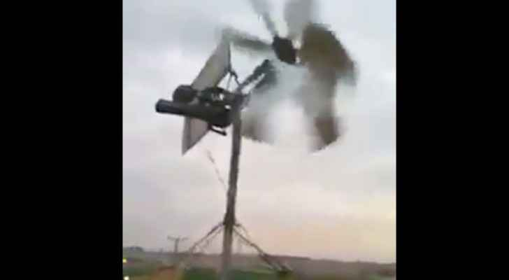 The man used a small wind turbine to generate electricity. (Facebook)