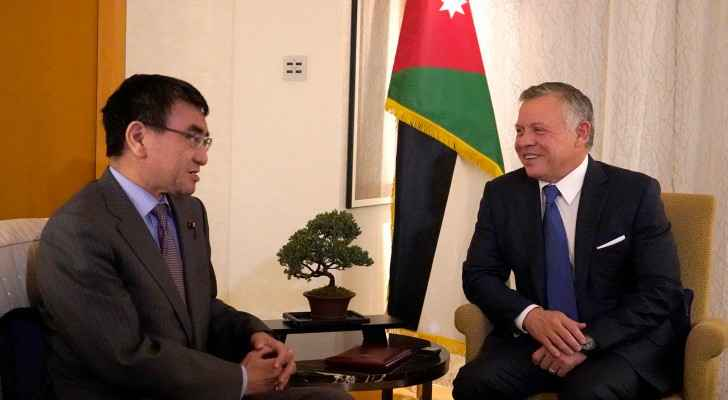 King Abdullah II meets with Foreign Minister of Japan Taro Kono.