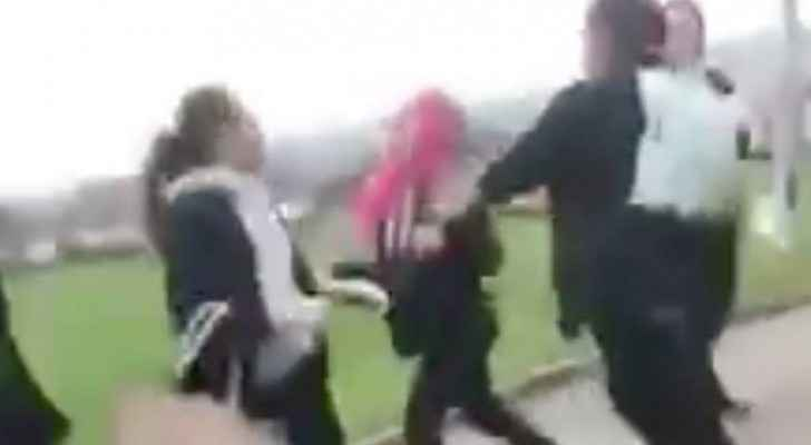 Video shared on social media shows two girls attacking a Syrian refugee. (Screenshot)