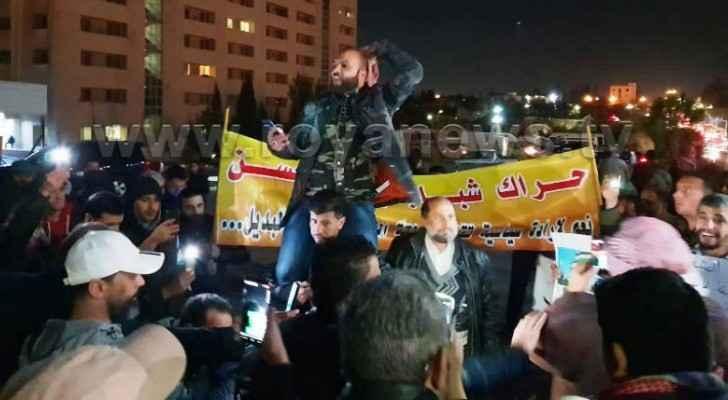 Protesters gathered near Jordan Hospital on Friday evening as well. (Roya)