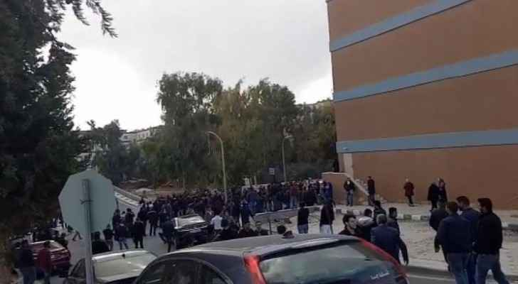 Students gathered as a huge row took place at the University of Petra. (Roya)