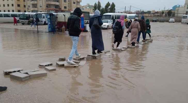 Heavy rain in Irbid reveals bad infrastructure