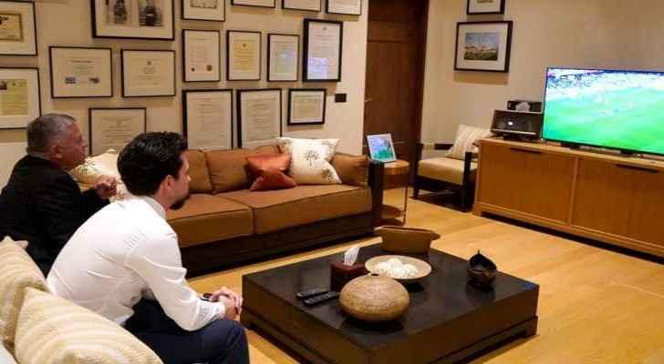 King, Crown Prince watch Jordan's football match against Australia