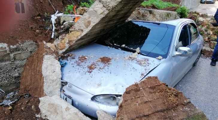 Concrete wall collapses on vehicle in Ajloun due to heavy rainfall