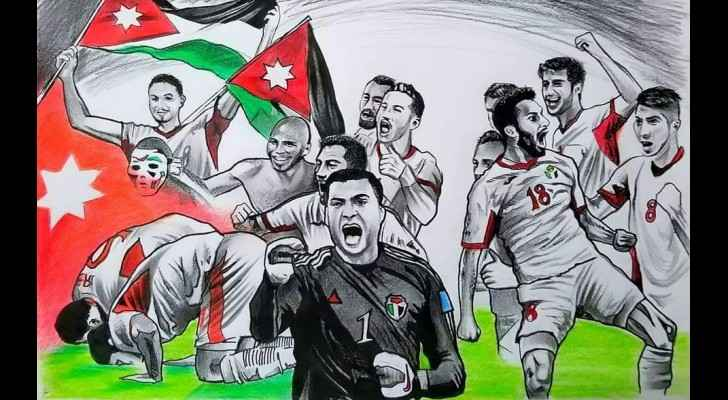 Artist draws mural of Jordan's 'Al-Nashama' football team