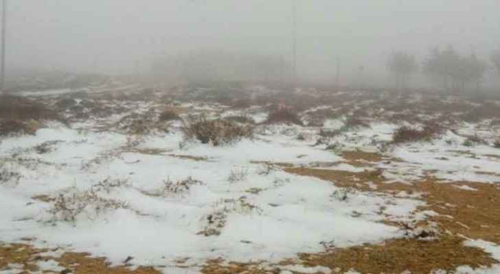 Snowfall in hilly areas over 1100 meters