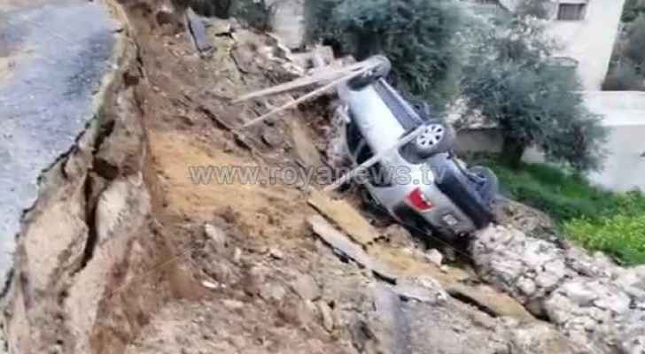 Heavy rains in Ajloun cause landslides