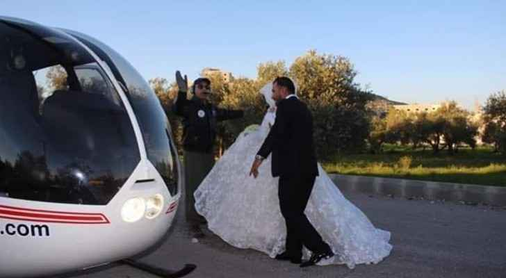Jordanian performs wedding 'Zaffe' by helicopter