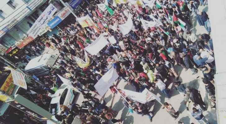 Photos: Mass march in Zarqa in support to King's position towards 'Palestinian cause'