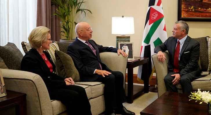 King meets World Economic Forum founder