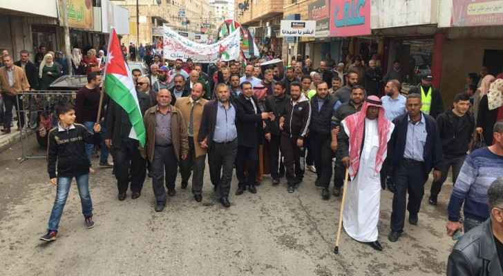 Photos: March in Irbid in support of King's position towards Jerusalem, 'Palestinian cause'
