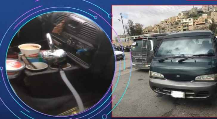 Video: Minibus driver caught drinking shisha while driving in Sweileh