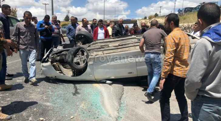 Photos: Injuries in rollover vehicle accident on Irbid road