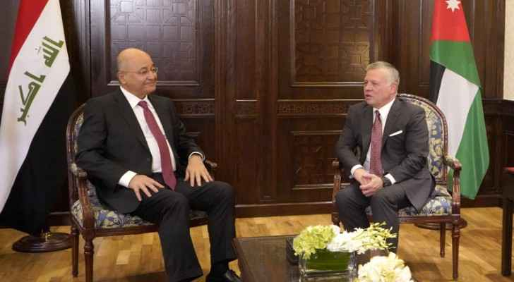 King, Iraqi president reaffirm commitment to developing Jordan-Iraq cooperation