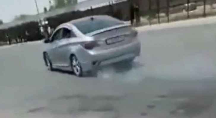 Video: Car drifter arrested after hit and run at Hashemite University in Zarqa