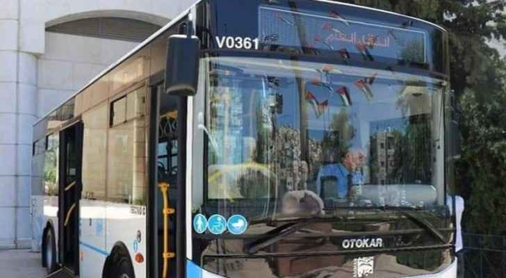 "A bus operating through ""Amman Bus"" project"