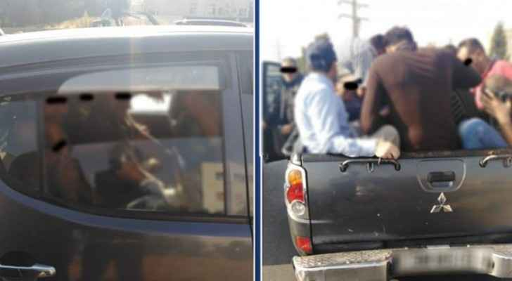Overloaded pickup truck with 14 passengers caught in Amman