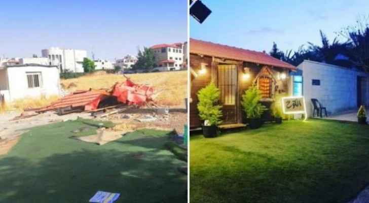 The hut before and after demolishing