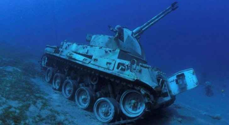 Jordanian Armed Forces armoured vehicle lies on seabed in Aqaba