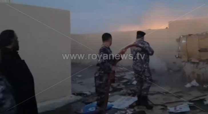 Firefighters extinguish fire in cardboard factory in Karak