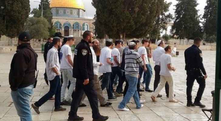 Dozens of radical settlers storm Al-Aqsa Mosque this morning
