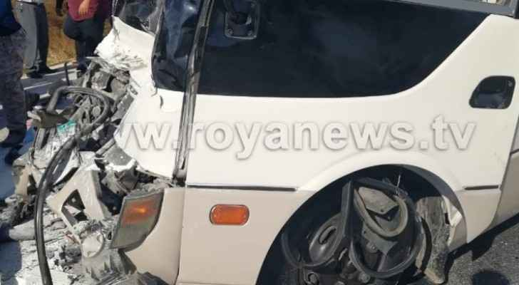 Photos: 28 injured in collision accident on Irbid road