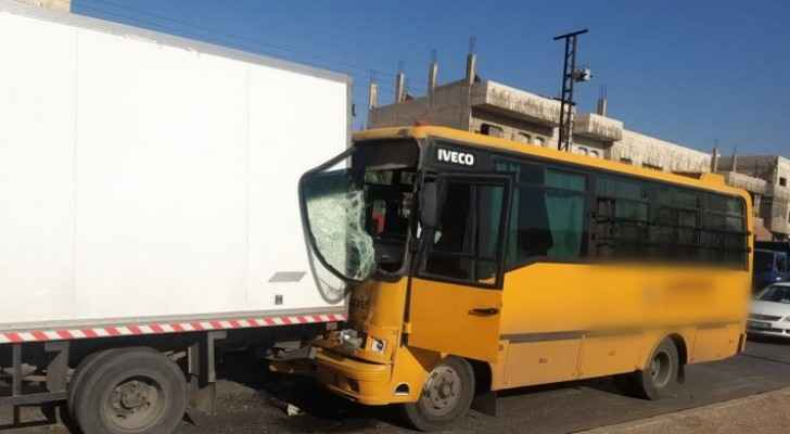 Ten injured after bus collided with four vehicles in Amman