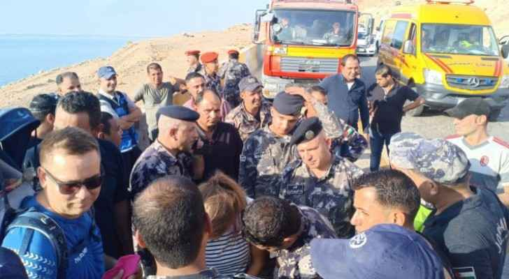 Three tourists rescued after being trapped by water in Zarqa Mai'n Dead Sea