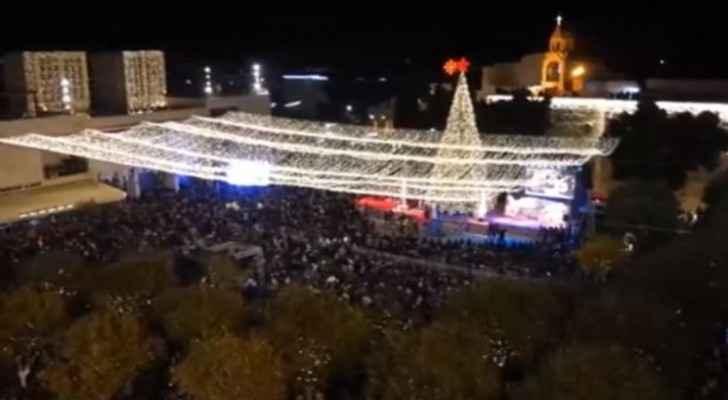 Christmas tree lit in Bethlehem marking beginning of celebrations