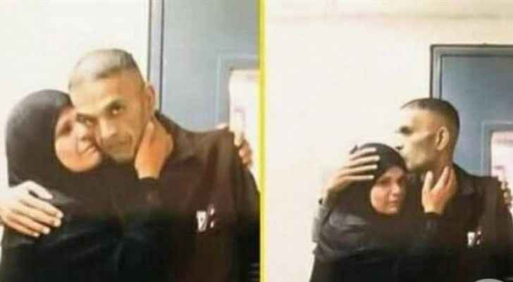 The Palestinian prisoner Sami Ahed Abu Diyak and his mother