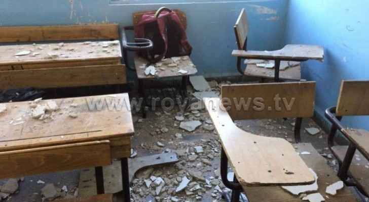 Student injured after parts of classroom roof collapsed in Irbid