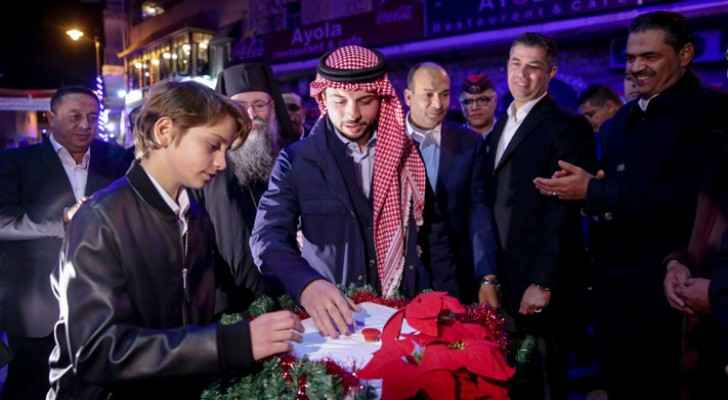 Crown Prince joins members of Christian community in lighting Madaba Christmas tree