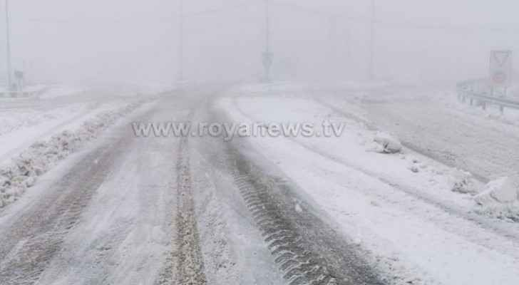 Snowfall in Al Rashadiyya area of Tafilah this morning