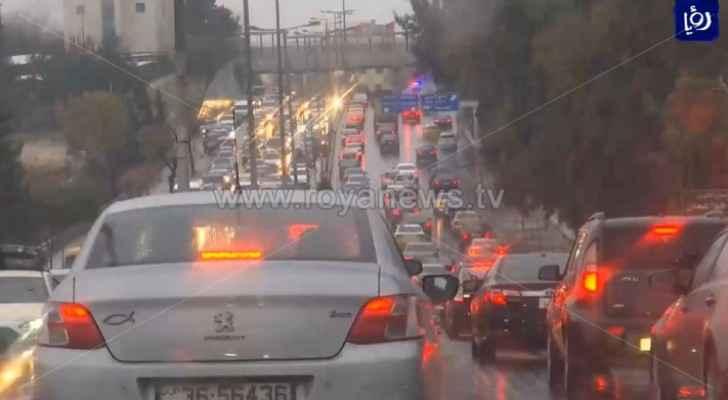 Heavy traffic jam in Amman streets this evening