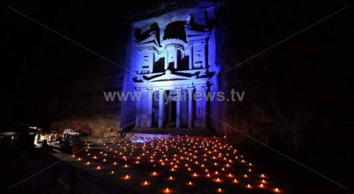 Petra lit up in blue to mark World Cancer Day