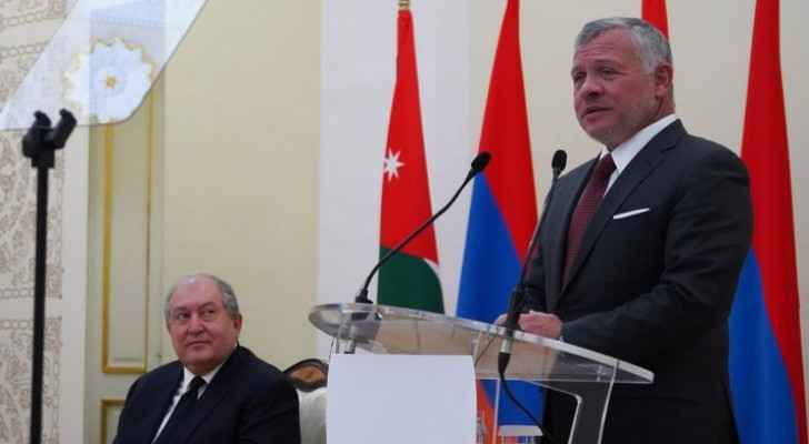 King delivers speech in Armenia