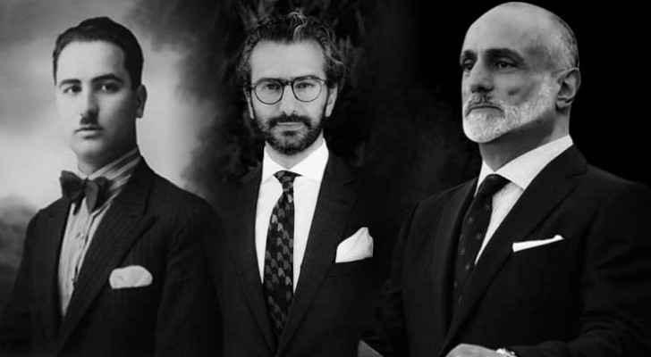 (L-R) Fuad El Karsheh's grandfather, Elias, Roya's Fuad El Karsheh wearing the gifted silk handkerchief, and Prince Talal bin Muhammad
