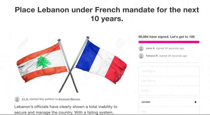 Petition calling for France to take control of Lebanon garners 50,000 signatures