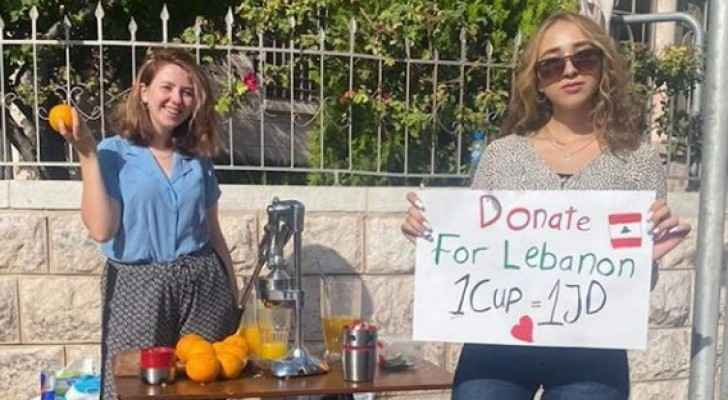 Jordanian women sell orange juice to help Beirut's victims