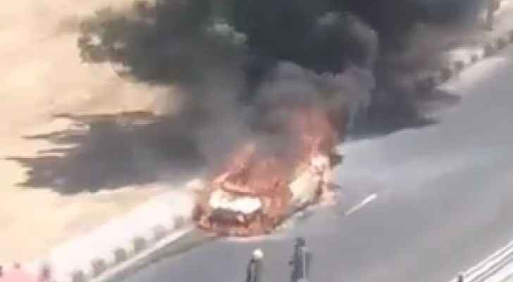 Car on fire at 7th Circle in Amman