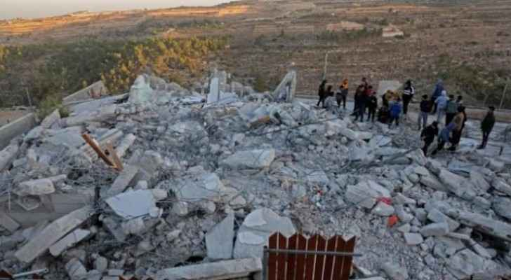 Palestinians demonstrate after IOF home demolishment