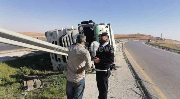 Accident occurs on Mafraq-Zarqa highway involving truck