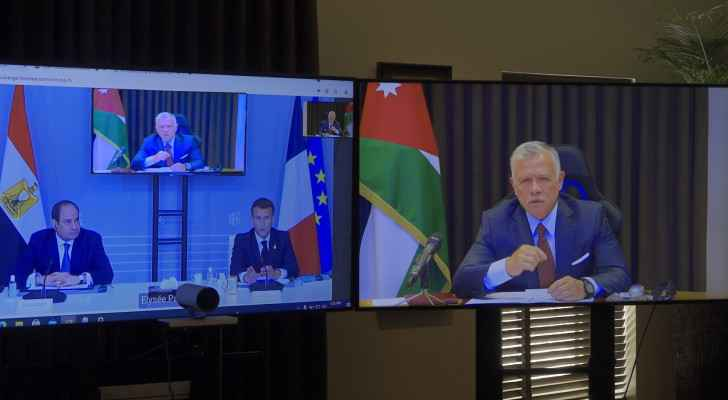 King Abdullah II discusses current situation in Palestine with Sisi, Merkel, Macron