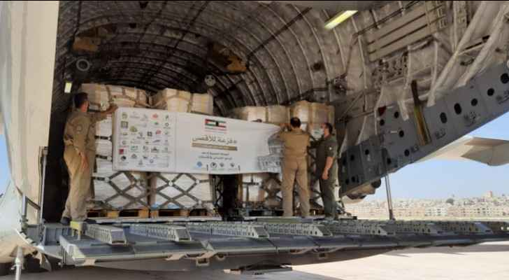 JHCO receives humanitarian aid plane from Kuwait for Palestinians