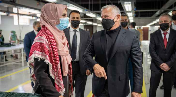 King Abdullah II visits garment factory in Northern Mazar