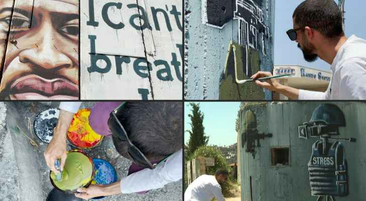 Palestinian artist paints murals on Israeli Occupation barrier