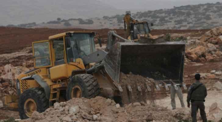 Israeli occupation bulldozes a road east of Nablus